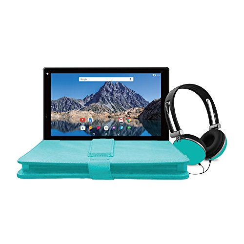 Ematic 10-Inch Android 7.1 (Nougat), Quad-Core 16GB Tablet with Folio Case and Headphones, Teal