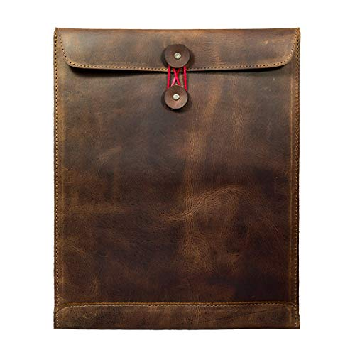 Hide & Drink, Leather Mailing Envelope Document Holder, Meetings Interview Carrier, Resume Sales Portfolio Binder, Office & Work Essentials Handmade Includes 101 Year Warranty :: Bourbon Brown