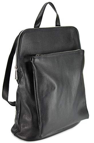 Belli Backpack Seattle italienischer Damen Rucksack Leder Handtasche Cross Body Bag 3in1 in schwarz - 29x32x11 cm (B x H x T)