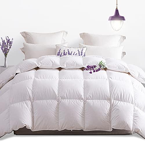 Amazon Brand - Umi Edredón nórdico de plumón de Ganso 260x220-cama 150 con Perfume de Lavanda y Exterior 100% algodón,Cuatro Estaciones,Cambio de Estación (Blanco, 4 Estaciones)