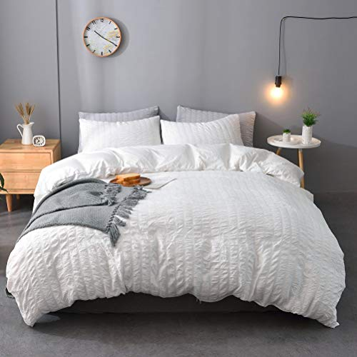 M&Meagle 3 Pieces White Duvet Cover Textured Set with Zipper Closure,100% Washed Microfiber Seersucker Fabric,Luxury Hotel Quality Bedding-Queen Size(1 Duvet Cover 2 Pillowcases)