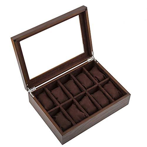 La caja del reloj es un símbolo de personas exitos Caja de reloj de madera Techo de sol Diez Joyería de madera Pulsera Pulsera Caja de exhibición Caja de almacenamiento Cajas de reloj ( Color : B )