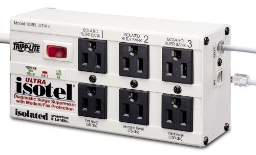 Tripp Lite Isobar 6 Outlet Surge Protector Power Strip, Tel/Modem, 6ft Cord Right Angled Plug, & $50K INSURANCE (ISOTEL6ULTRA)
