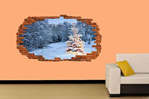 ARBOL DE NAVIDAD EN NIEVE ETIQUETA DE PARED DECORACIÓN DE LA HABITACIÓN MURAL A mural calcomanía Decal Print 60x90cm