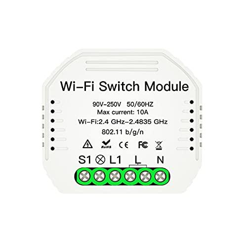 SeniorMar Interruptor de luz Inteligente Mini WiFi, módulo disyuntor DIY, Control Remoto de la aplicación Smart Life/Tuya, Funciona con Alexa Echo Google Home 1 2 vías