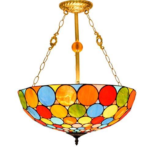 HNWNJ Iluminación Colgante Lámpara de Vidrio de Color Bar de Estilo araña de Bohemia 50CM lámpara del Dormitorio vidrieras Creativa Europea Comedor