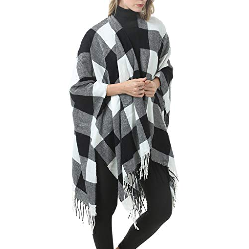 Women Tassel Shawl Fashion Elegant Ladies Winter Autumn Soft Oversized Pashmina Blanket Plaid Wrap Cape Sweater Knitting Cardigan Poncho