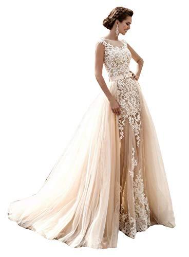 CGown Damen Crewneck Ärmel Spitze Meerjungfrau Hochzeitskleider für Braut mit Abnehmbarer Zug Tüll Brautkleid Gr. 42, weiß