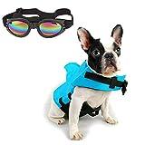 CheeseandU Dog Life Jacket Shark, Pet Swimming Vest Jacket- Adjustable Preserver Coat Jacket with Free Pet UV Goggles Sunglasses Gift for Small Medium Dog Puppy Doggie Surfing Boating, Blue