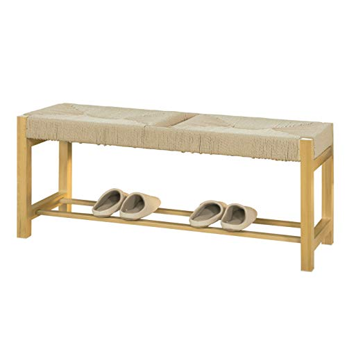 SoBuy FSR68-N Design Schuhbank mit Sitzfläche aus handgewebtem Jute Seil Sitzbank Garderobenbank Dielenbank Bettbank Natur BHT ca.: 110x46x36cm