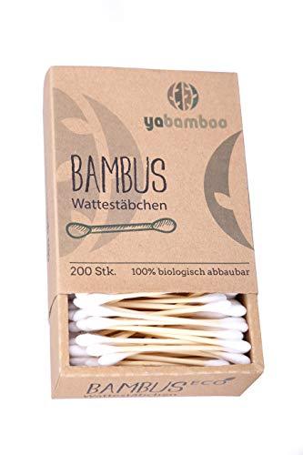 yabamboo Bambus Wattestäbchen 2er Pack (400 Stück) l 100% biologisch abbaubar, nachhaltig & vegan I kompostierbar I ohne Plastik