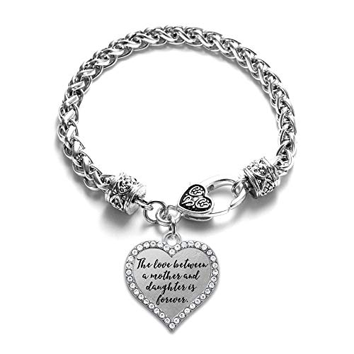Inspired Silver - Mother and Daughter Bond Braided Bracelet for Women - Silver Open Heart Charm Bracelet with Cubic Zirconia Jewelry