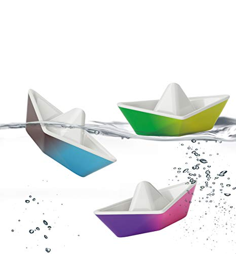 PlayMonster Kid O Color-Changing Origami Boats Bath Toy Set , Blue, Pink,...
