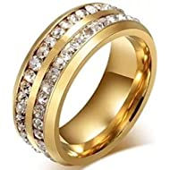 LEEYA NL10 Mens Womens 8MM... LEEYA NL10 Mens Womens 8MM Titanium Stainless Steel High Polished 18K Gold Plated Channel Set...