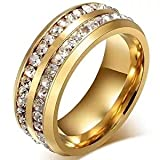 LEEYA NL10 Mens Womens 8MM Titanium Stainless Steel High Polished 18K Gold Plated Channel Set Cubic Zirconia CZ Promise Engagement Band Unisex Gold Wedding Ring Comfort Fit, Size 6-13 (7, Gold)