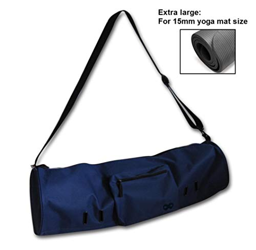 "YogaAddict Yoga Mat Bag (Extra Large) 'Compact' with Pocket, Fits All 15mm Yoga Mat and Jade/Manduka Mat Size, 29"" Long, Easy Access - Navy Blue"