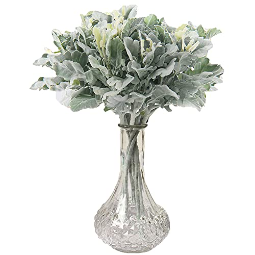 SHACOS 12Pcs Artificial Flocked Lambs Ear Leaves Stems 13' Flocked Silver Leaf Chrysanthemum Flocked Oak Leaves for Home Wedding DIY Floral Arrangement