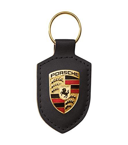 Porsche Schlüsselanhänger Wappen | Metalllogo Auf Lederplatte | NUR Hier + Extra Schlüsselring Mit Schraubverschlusss Original Sportwagen Design | Made In Germany (Schwarz)