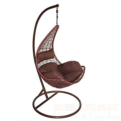 SSITG Hangstoel met frame, eenzits, polyrotan, hangmand, hangmand, weerbestendig, hangstoel met onderstel, eenzits, polyrotan, hangmand, hangmand, schommelbank, weerbestendig