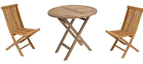 Mediablue Gartentisch rund 80cm aus Teakholz mit 2 Stühlen (Tisch mit 2 Stühlen)