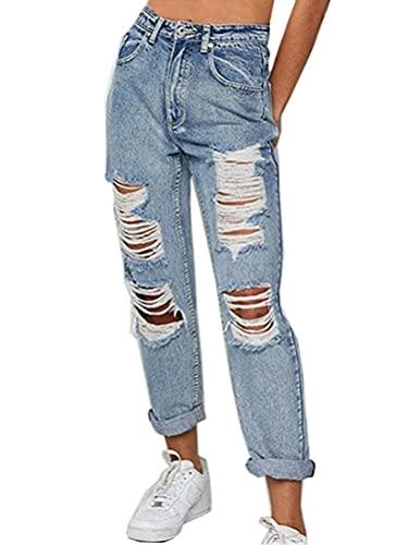 ORANDESIGNE Damen Stretch Straight Jeans Löchern Baggy Boyfriend Jeanshose Teenager Mädchen Lässig Denim Hosen Weich Pants Freizeithose 01 Blau XS