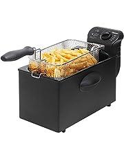 Bestron friteuse met koude zone, frituurpan met mand, 2000W, 3,5 L, zwart