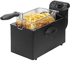 Bestron Friteuse Cool Zone, Pour 1 kg de friterie, 3,5 litres, 2000 W, Noir