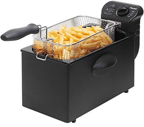 Bestron Öl-Fritteuse mit Kaltzonentechnologie, 3,5 Liter, mit Temperaturregler, spülmaschinengeeignet, 2000 Watt, schwarz