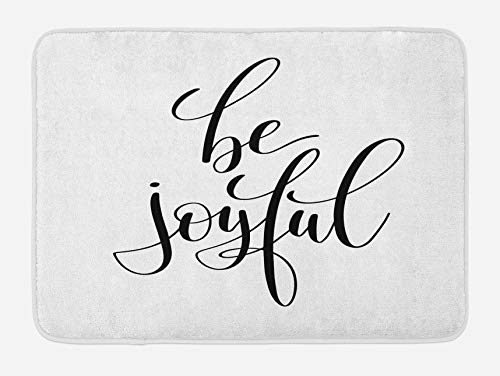 Joy - Alfombrilla de baño, Motivacional Be Joyful Saying con dibujo de pincel de tinta para vibraciones positivas y felices, Alfombra de decoración de baño de felpa con respaldo antideslizante, Blanco