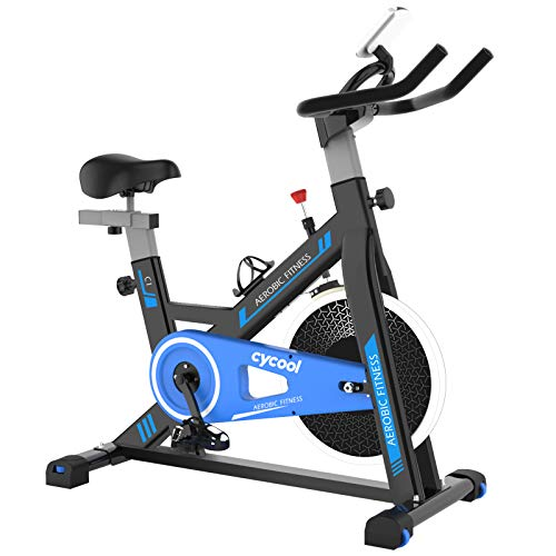 cycool Exercise Bike Belt Drive Stationary Bike Indoor Cycling Bike with Phone Stand,Comfortable Seat Cushion,LCD Monitor