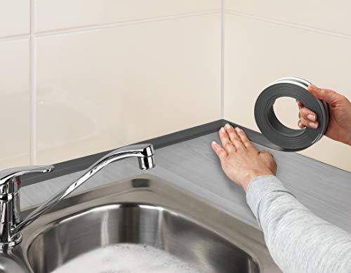 WENKO Arbeitsflächen Abdichtband Grau - selbstklebendes Dichtungsband, wasserundurchlässig, Kunststoff, 2.8 x 0.2 x 400 cm, Grau