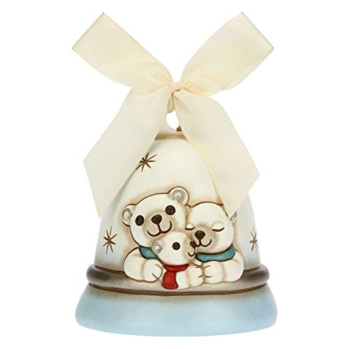 THUN - Addobbo per Albero di Natale Campanella con Orsi Polari - Decorazioni Natale Casa - Linea Un Pensiero Felice - Ceramica - 10,7 x 10,7 x 12 h cm