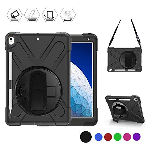 BRAECN iPad AIR 3rd Generation Case 2019,iPad Pro 10.5 Case 2017, Heavy duty Shockproof Rugged Case with Pencil Holder, Hand Strap/Stand & Carrying Shoulder Strap for iPad AIR 3 10.5 Inch 2019 -Black