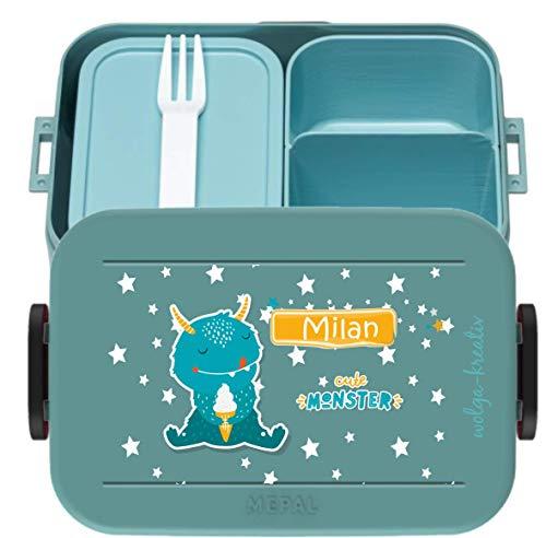 wolga-kreativ Brotdose Lunchbox Bento Box Kinder Cooler Monster mit Namen Mepal Obsteinsatz für Mädchen Jungen personalisiert Brotbüchse Brotdosen Kindergarten Schule Schultüte füllen