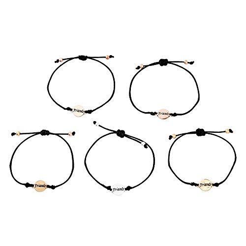 Claire's Matching Mixed Metal Adjustable Friendship Bracelets, Black Cord,...