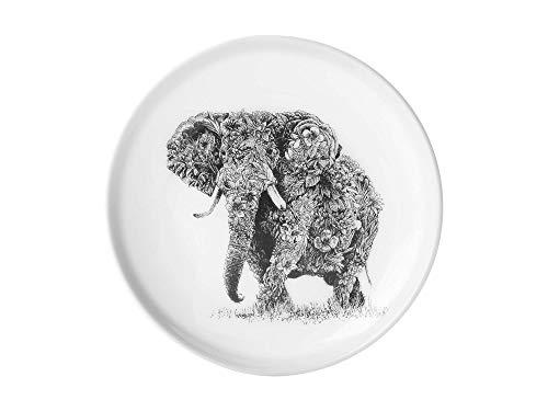 Maxwell & Williams Marini Ferlazzo Assiette à dessert en porcelaine fine Motif éléphant africain Noir/blanc 20 cm