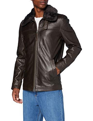 Schott NYC Lcmaine Chaqueta de Cuero, marrón, Large para Hombre