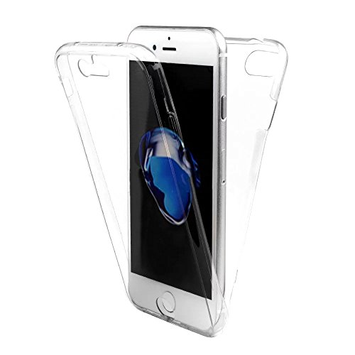 SevenPanda iPhone 7 Hülle Silikon Transparent 360 Grad [OneFlow Double Cover] Handyhülle Durchsichtig Schutzhülle für iPhone 8 Case Dünn Silikonhülle Grau Tasche - Weiß