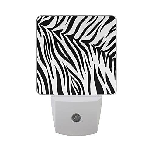 LINGF Nachtlicht Tier Zebra Streifen Print, sensor automático LED Nachtlicht Lampe Down to Dusk Plug-in Glühbirne für Kinder Jungen Mädchen Erwachsenenzimmer Flur, paquete de 2