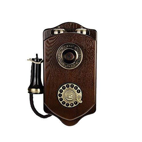 QTQHOME Madera Montado en la Pared Vintage Rotativo Retro Hotel Tarjeta inalámbrica Creativa Teléfono Fijo con Cable Teléfono (Color:B)