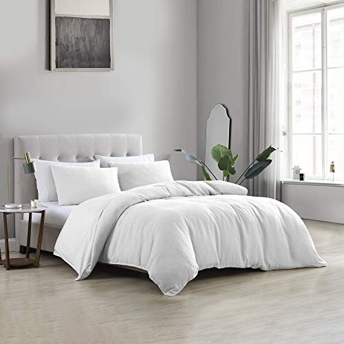 Brielle Wesley Solid Cotton Matelasse Textured Comforter Set, White, King
