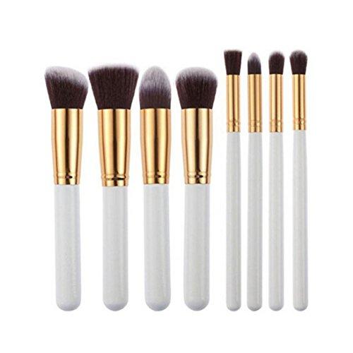 Vi.yo Brosse de maquillage Set 8 Pièces Professional Foundation Concealer Brush Poudre Liquide Pinceaux Cosmétiques Outil Set pour le Visage et les Yeux (8 Pièces Poignée Brosse Blanche)