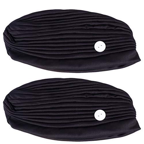 TOYANDONA Diadema con Botones Soporte para Protección Auditiva Yoga Entrenamiento Turbante Envoltura para La Cabeza Soporte para La Cara Quimio Gorro Gorro 2 Piezas Negro