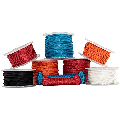 """SGT KNOTS Solid Braid Nylon Utility Rope - Multipurpose Rope for Commercial Applications, Anchors, Crafts (1/8"""" x 100ft, Black)"""