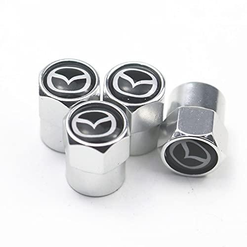 Tapones para Válvulas de neumáticos de Coche 4 unids Auto Rueda neumático válvula Tapa Tapa Cubierta Compatible con Mazda 2 Mazda 3 MS Mazda 6 CX-5 CX5 ARTZMA 6 Accesorios para automóviles Universal