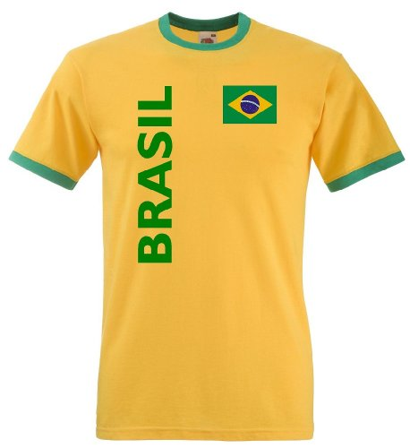 Fruit of the Loom Brasilien Herren T-Shirt Brasil Retro Trikot Fan Shirt|XL