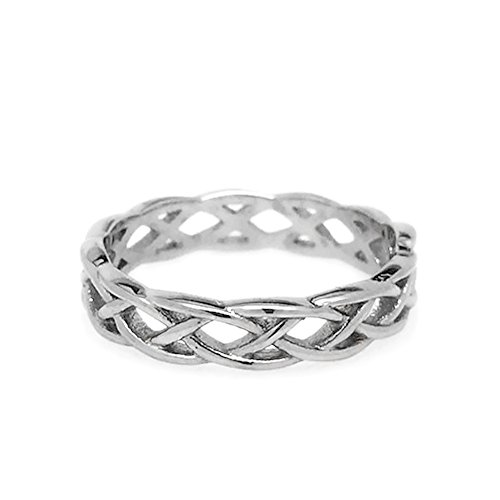 Loralyn Designs Womens Simple Stainless Steel Silver Endless Love Celtic Braid Band Ring (Size 9)