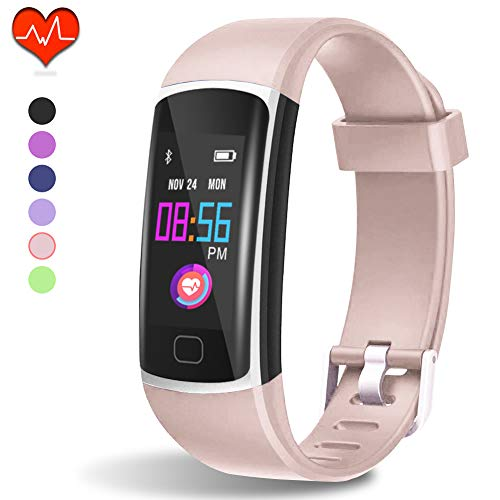 Fitness Tracker HR, Activity Tracker with Heart Rate Monitor and Sleep Monitor,Waterproof Pedometer, Step Counter, Calories Counter for Android & iPhone (Lavenderblush)