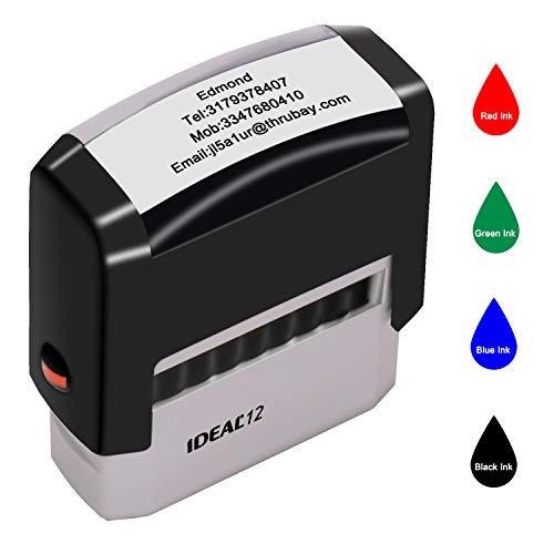 Individueller Stempel,Personalisierte Stempel,47x18mm,Bis zu 4 Zeilen, Adressstempel für Geschäft, Büro, Kartenherstellung