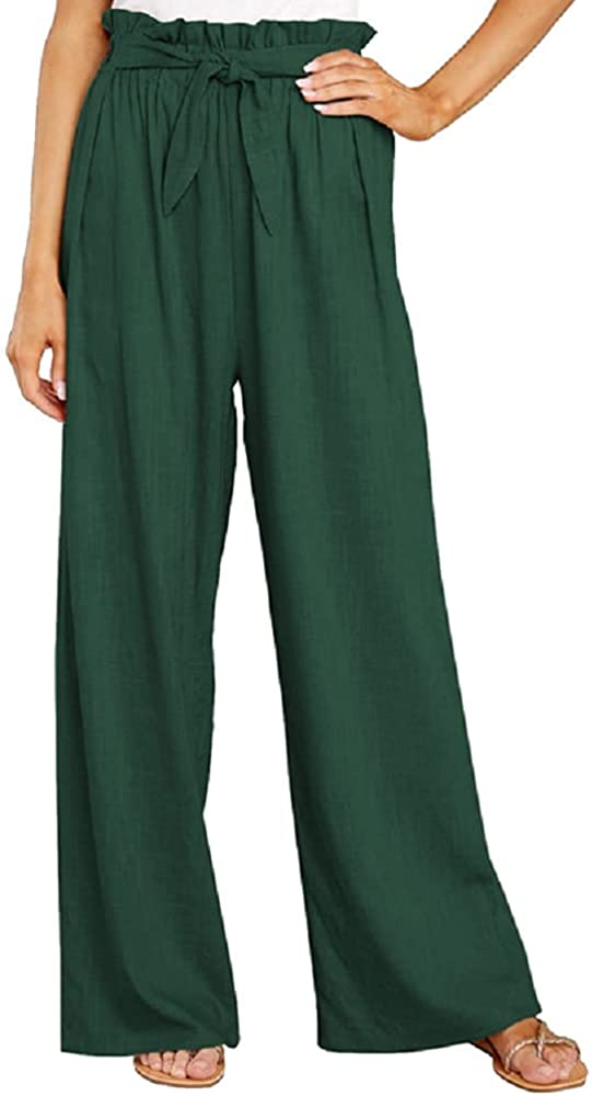 Womens Cotton Work Pants Lounge Wide Leg Paper Bag Palazzo Trousers Elastic High Waist Casual Loose Pants with Belt